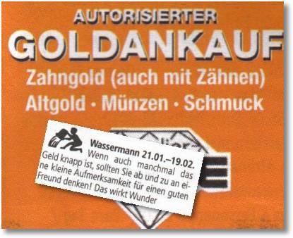 Wassermann - Autorisierter Goldankauf, Zahngold auch mit Zähnen