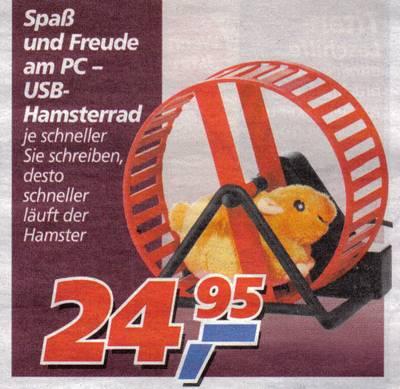 Spaß und Freunde am PC - USB-Hamsterrad - Je schneller sie schreiben, desto schneller läuft der Hamster