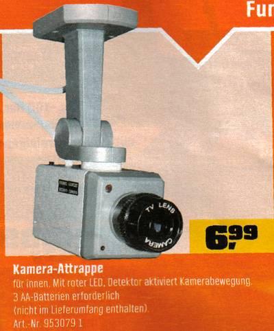 Kamera-Attrappe - für innen. Mit roter LED. Detektor aktiviert Kamerabewegung. 3 AA-Batterien erforderlich.