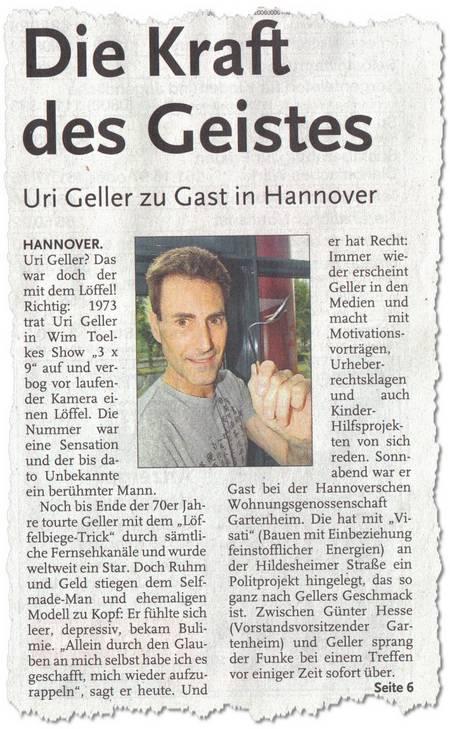 Die Kraft des Geistes - Uri Geller zu Gast in Hannover