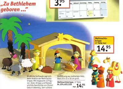 Zu Bethlehem geboren. Kindliche Vorfreude regt sich beim Anblick der Weihnachtskrippe. Mit insgesamt 13 Figuren, Stall und Palmen wird die Geschichte von Christi Geburt lebendig. Sehr schöne Ausführung in lackiertem Holz...