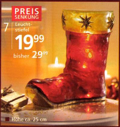 Preissenkung - Leuchtstiefel - 19,99 - bisher 29,99 - Höhe ca. 25 cm