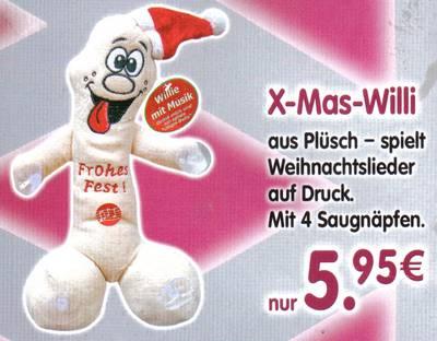 X-Mas-Willi aus Plüsch - spielt Weihnachtslieder auf Druck. Mit 4 Saugnäpfen. nur 5,95€
