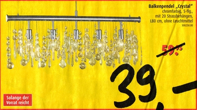 Balkenpendel Crystal - chromfarbig, mit 20 Strassbehängen - Solange der Vorrat reicht