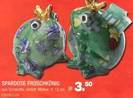 Spardose Froschkönig - aus Terrakotta, versch. Motive, Höhe 12 cm - je 3,50 Euro