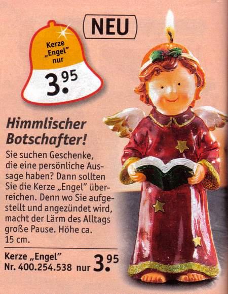 Neu! Kerze Engel nur 3.95 - Himmlischer Botschafter! - Sie suchen Geschenke, die eine persönliche Aussage haben? Dann sollten Sie die Kerze Engel überreichen. Denn wo Sie aufgestellt und angezündet wird, macht der Lärm des Alltags große Pause. Höhe ca. 15 cm. Kerze Engel nur 3,95 Euro