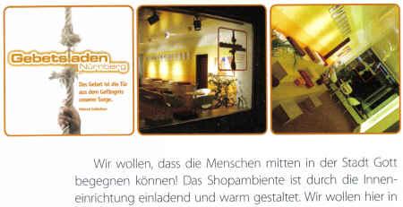 Gebetsladen Nürnberg - Wir wollen, dass die Menschen mitten in der Stadt Gott begegnen können! Das Shopambiente ist durch die Inneneinrichtung einladend und warm gestaltet...