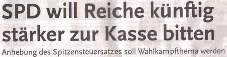 SPD will Reiche künftig stärker zur Kasse bitten - Anhebung des Spitzensteuersatzes soll Wahlkampfthema werden