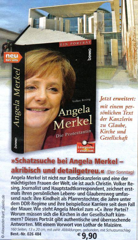 Vivat-Angebot: Angela Merkel, Die Protestantin - Jetzt erweitert: mit einem persönlichen Text der Kanzlerin zu Glaube, Kirche und Gesellschaft - Schatzsuche bei Angela Merkel, akribisch und detailgetreu - Angela Merkel ist nicht nur Bundeskanzlerin und eine der mächtigsten Frauen der Welt, sie ist auch Christin. Volker Resing, Journalist und Hauptstadtkorrespondent, zeichnet erstmals ihren persönlichen Lebens- und Glaubensweg umfassend nach: ihre Kindheit als Pfarrerstochter, die Jahre unter dem DDR-Regime und ihre beispiellose Karriere seit dem Fall der Mauer. Wie steht Angela Merkel zum C ihrer Partei? Worum müssen sich die Kirchen in der Gesellschaft kümmern? Dieses Portrait gibt authentische und überraschende Antworten. Mit einem Vorwort von Lothar de Maizière. 9,90 Euro