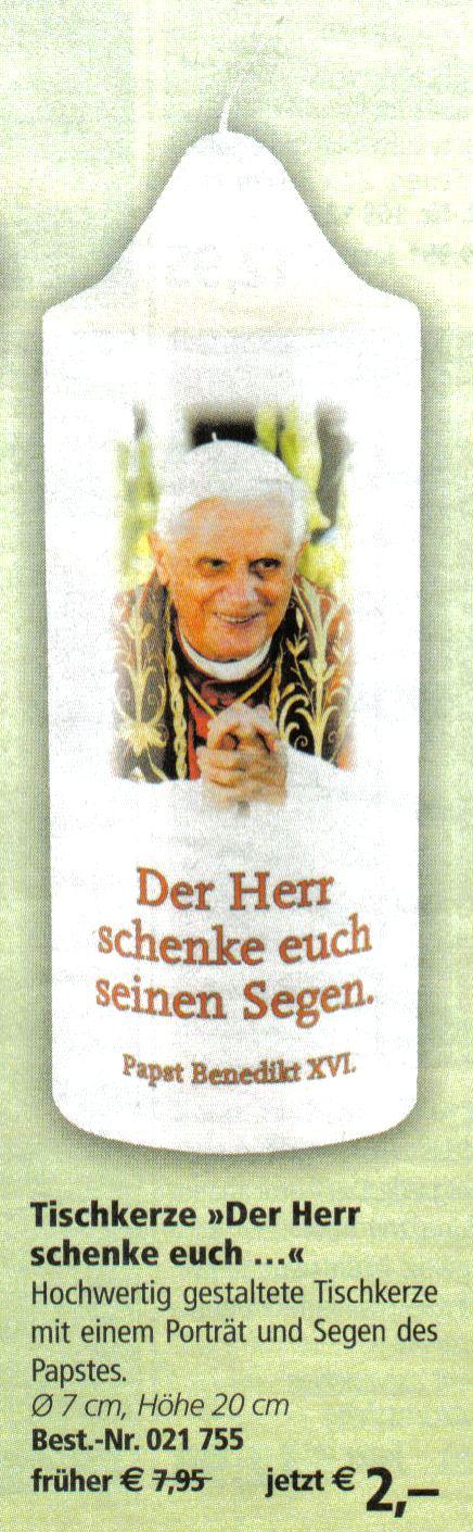 Tischkerze Der Herr schenke euch seinen Segen - Hochwertig gestaltete Tischkerze mit einem Porträt und Segen des Papstes. Nur noch 2 Euro