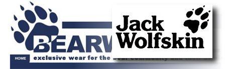 Die Logos von bearwear.nl und Jack Wolfskin gegenübergestellt