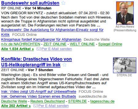 Zwei Meldungen aus Google-News direkt untereinander: 'Bundeswehr soll aufrüsten' und 'Drastisches Video vom Helikopterangriff im Irak'.
