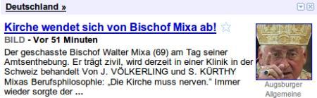 Kirche wendet sich von Bischof Mixa ab! -- Der geschasste Bischof Walter Mixa am Tag seiner Amtsenthebung. Er trägt zivil, wird derzeit in einer Klinik in der Schweiz behandelt...
