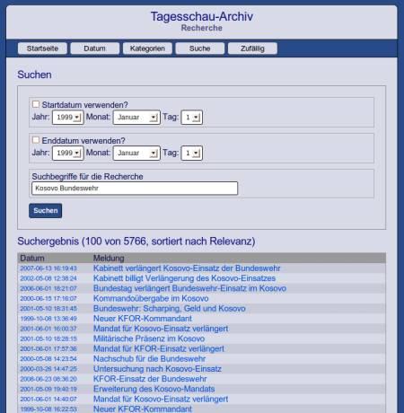 Ein Screenshot der Suchfunktion