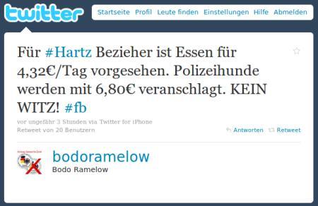 Für #Hartz Bezieher ist Essen für 4,32€/Tag vorgesehen. Polizeihunde werden mit 6,80€ veranschlagt. KEIN WITZ! #fb