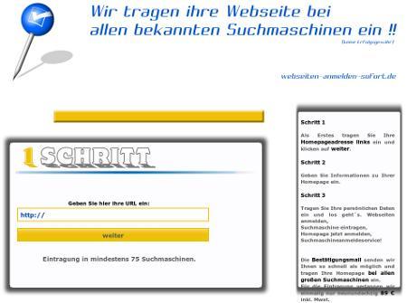 Screenshot der Abzocker-Website: Wir tragen ihre Webseite bei allen bekannten Suchmaschinen ein !!