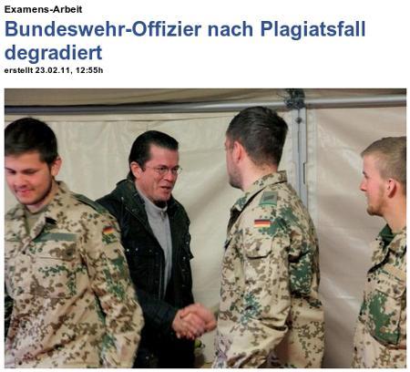 Examens-Arbeit: Bundeswehr-Offizier nach Plagiatsfall degradiert - mit Bild vom Frhrn. von und zu Guttenberg unter den Soldaten