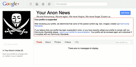 Screenshot: Anonymous ist auf Google Plus gesperrt worden