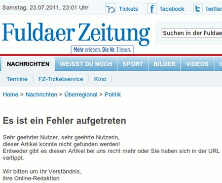 Screenshot einer Fehlermeldung, die darauf hindeutet, dass der Artikel nicht existiert.