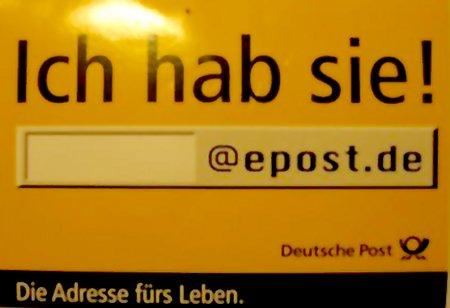 Ich hab sie! Die Adresse fürs Leben. epost.de, Deutsche Post