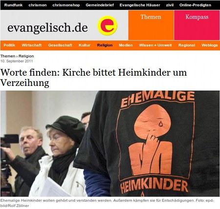 Screenshot evangelisch.de -- Worte finden: Kirche bittet Heimkinder um Verzeihung