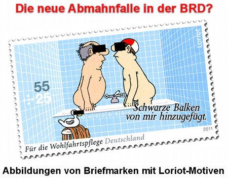 Die neue Abmahnfalle in der BRD? Abbildungen von Briefmarken mit Loriot-Motiven