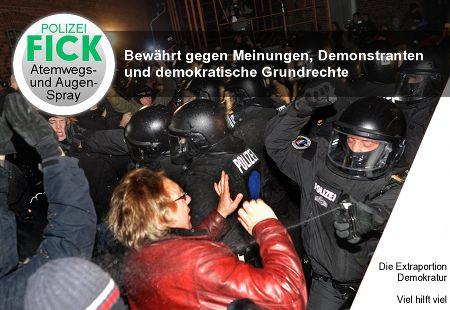POLIZEI FICK Atemwegs- und Augenspray / Bewährt gegen Meinungen, Demonstranten und demokratische Grundrechte / Die Extraportion Demokratur. Viel hilft viel.