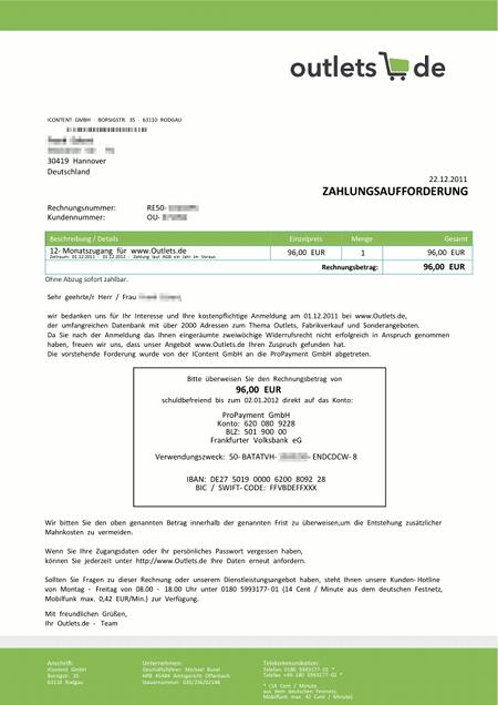 Zahlungsaufforderung von outlets.de -- ein reiner Betrug