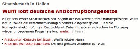 Staatsbesuch in Italien: Wulff lobt deutsche Antikorruptionsgesetze
