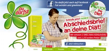 Screenshot der Website des Anbieters nährstoffreduzierter Nahrungsmittel 'Du darfst'