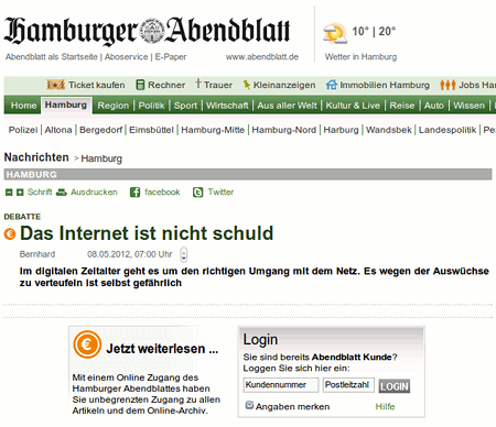 Screenshot des angeblichen Artikels auf der Website des Hamburger Abendblattes