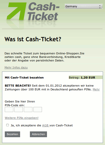 Screenshot Cash-Ticket