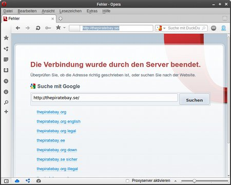 Screenshot ohne Proxy-Server