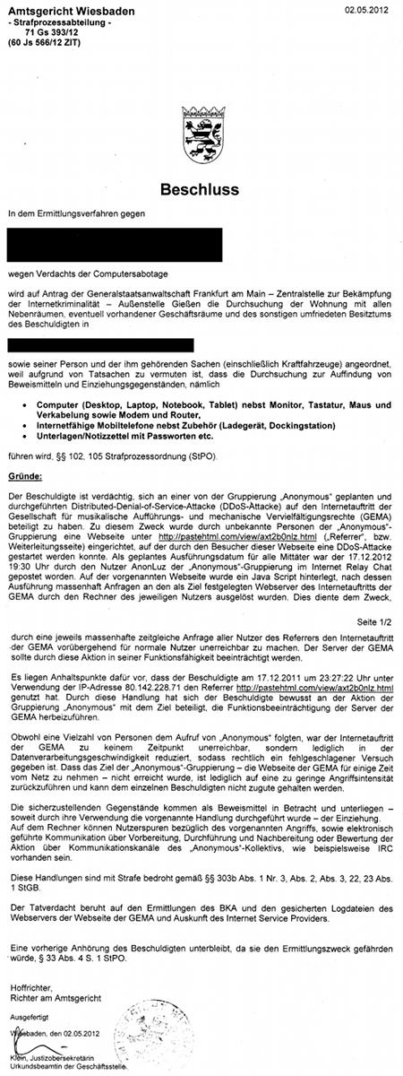 Beschluss des Amtsgerichtes Wiesbaden