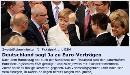 Zweidrittelmehrheiten für Fiskalpakt und ESM: Deutschland sagt ja zu Euro-Verträgen -- Nach dem Bundestag hat auch der Bundesrat den Fiskalpakt und den dauerhaften EUro-Rettungsschirm ESM gebilligt - und zwar jeweils mit Zweidrittelmehrheit. Zuvor hatte es hitzige Debatten gegeben. Das Verfassungsgericht kann noch sein Veto einlegen, in Karlsruhe liegen bereits Klagen vor.