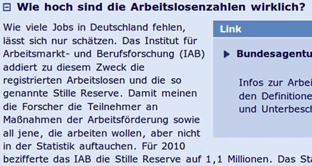 Wie hoch sind die Arbeitslosenzahlen wirklich? -- Wie viele Jobs in Deutschland fehlen, lässt sich nur schätzen. Das Institut für Arbeitsmarkt- und Berufsforschung (IAB) addiert zu diesem Zweck die registrierten Arbeitslosen und die so genannte Stille Reserve