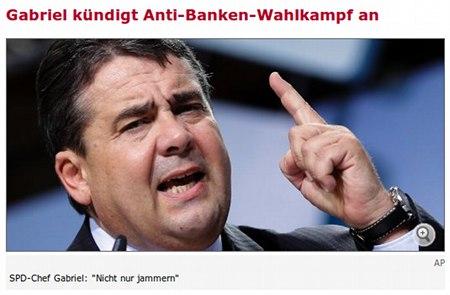 Gabriel kündigt Anti-Banken-Wahlkampf an