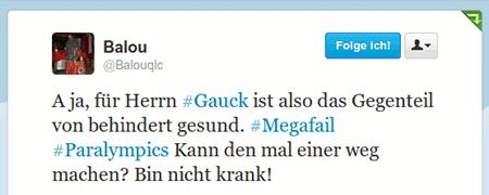 A ja, für Herrn #Gauck ist also das Gegenteil von behindert gesund. #Megafail #Paralympics Kann den mal einer weg machen? Bin nicht krank!