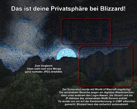 Das ist deine Privatsphäre bei Blizzard! Screenshot, der aus World of Warcraft heraus angefertigt wurde, mit sichtbar gemachter digitaler Signatur.