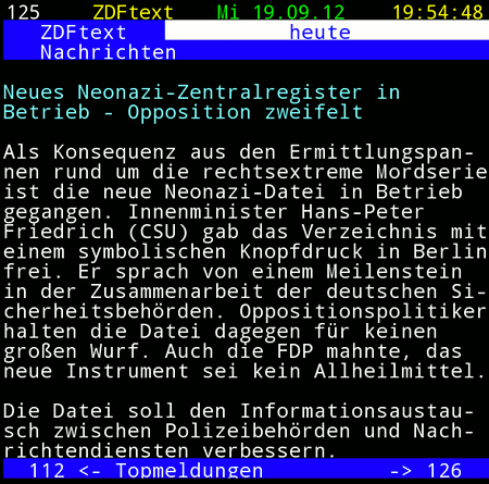 Screenshot ZDFtext: Neues Neonazi-Zentralregister in Betrieb - Opposition zweifelt