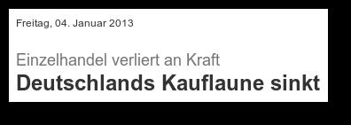 Einzelhandel verliert an Kraft -- Deutschlands Kauflaune sinkt