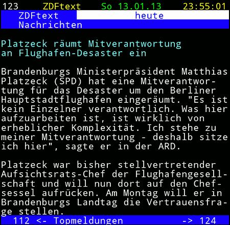 Platzeck räumt Mitverantwortung an Flughafen-Desaster ein -- Brandenburgs Ministerpräsident Matthias Platzeck (SPD) hat eine Mitverantwortung für das Desaster um den Berliner Hauptstadtflughafen eingeräumt. Ein ist kein Einzelner verantwortlich. Was hier aufzuarbeiten ist, ist wirklich von erheblicher Komplexität. Ich stehe zu meiner Mitverantwortung - deshalb sitze ich hier, sagte er in der ARD. Platzeck war bisher stellvertretender Aufsichtsrats-Chef der Flughafengesellschaft und will nun dort auf den Chefsessen aufrücken. Am Montag will er in Brandenburgs Landtag die Vertrauensfrage stellen.