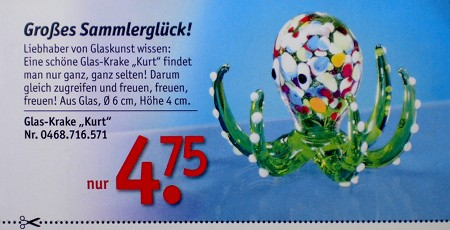 Großes Sammlerglück! Liebhaber von Glaskunst wissen: Eine schöne Glas-Krake 'Kurt' findet man nur ganz, ganz selten! Darum gleich zugreifen und freuen, freuen, freuen! Aus Glas, Durchmesser 6 cm, Höhe 4 cm, nur 4,75 Euro