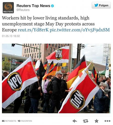 Screenshot Twitter -- Reuters Top News -- @Reuters -- Workers hit by lower living standards, high unemployment stage May Day protests across Europe