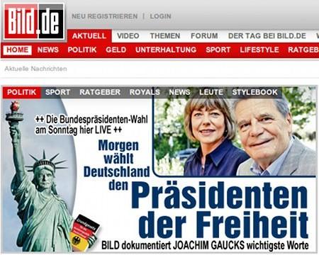 Screenshot von Bild.de mit der Schlagzeile: Die Bundespräsidenten-Wahl am Sonntag hier LIVE. Morgen wählt Deutschland den Präsidenten der Freiheit. BILD dokumentiert Joachim Gaucks wichtigste Worte.