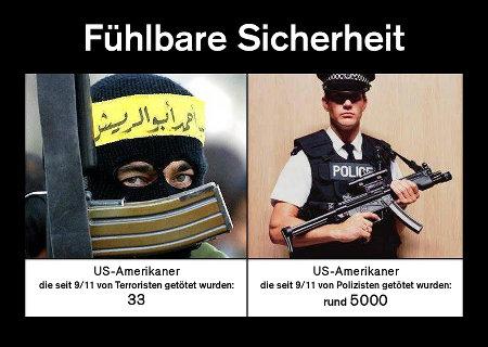 Fühlbare Sicherheit -- US-Amerikaner, die seit 9/11 von Terroristen getötet wurden: 33 -- US-Amerikaner, die seit 9/11 von Polizisten getötet wurden: rund 5000
