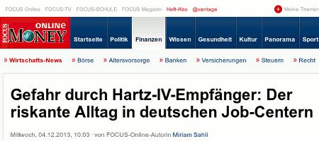 Screenshot Focus Online mit der Schlagzeile: Gefahr durch Hartz-IV-Empfänger: Der riskante Alltag in deutschen Job-Centern