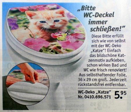 Bitte WC-Deckel immer schließen -- Diese Bitte erfüllt sich wie von selbst mit der WC-Deko 'Katze'! Einfach das bildschöne Katzenmotiv aufkleben, schon wirken Bad und WC wie frisch renoviert! Aus selbsthaftender Folie, 36x29 cm groß. Jederzeit rückstandsfrei entfernbar