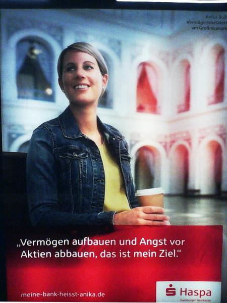 Werbung der Hamburger Sparkasse: Vermögen aufbauen und Angst vor Aktien abbauen, das ist mein Ziel