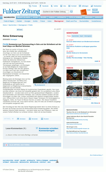 Screenshot der Website der Fuldaer Zeitung
